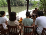Thai culture to make Dana (offering) to monks